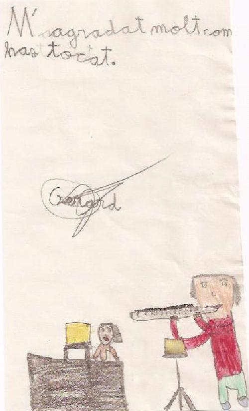 Un dibuix d'en Gerard, després de sentir-nos a l'Anna i a mi tocant per l'audició del silenci, el dijous 12 de febrer de 2009.